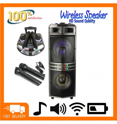DJ Karaoke Speaker Box Loud Bluetooth Double 10 Inch Powered Sound Audio Wireless