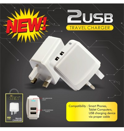 DEX Dual QC3.0 Fast Charging Wall Travel Charger With Type-C USB Cable