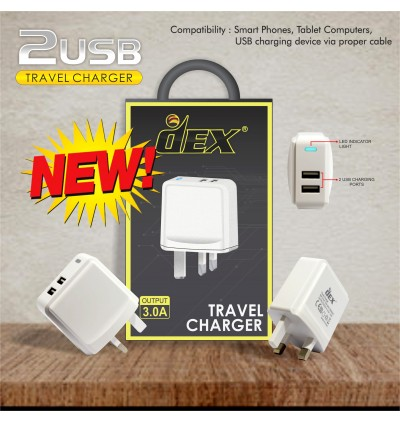 DEX Dual QC3.0 Fast Charging Wall Travel Charger With Lightning Cable