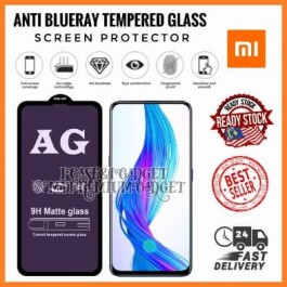 [FULL COVER] Redmi Note 3 Pro,5,6/6A,7,8,9,9S,10,10 Pro 5D/9D AG Matte Anti Blue Ray Full Glue Gaming Tempered Glass