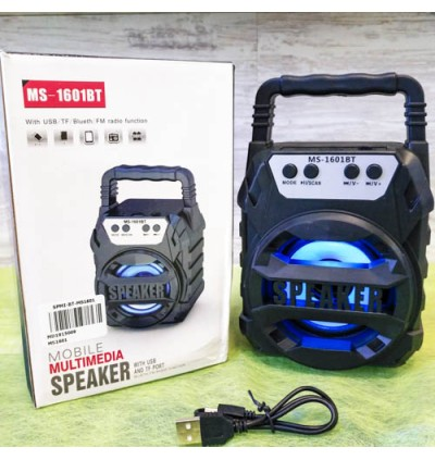 Portable Wireless Speaker With LED MS-1601 Bluetooth With FM radio USB/TF/AUX/BT Mini MP3 Clear Sound Super Bass