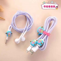Cute Cartoon Cable Line Cord Protective Case Cable Winder Cover Kit for Phone USB Charging Cable 4 In 1