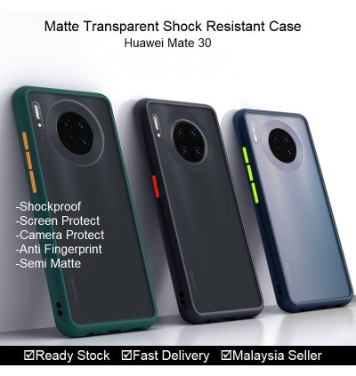 Huawei Mate 30, Mate 30 Pro Shockproof Matte Transparent Soft TPU Edge Hard Full Cover Case