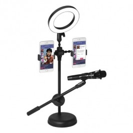 Mobile Phone Stand Live Voice Professional Microphone Mic Stand LED Selfie Light Holder