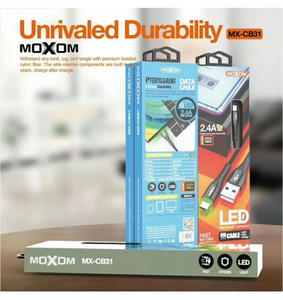 MOXOM MX-CB31 USB Data Cable 2.4A Qualcomm 3.0 Fast Charging High Speed Data Sync / LED Reinforced Connector