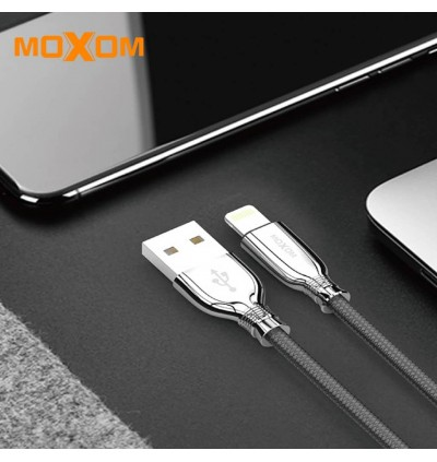Moxom CC-77 Black Mirror 2.4a Fast Charging & Data sync Stylish Outlook 1M Cable Lighting Micro USB Type C