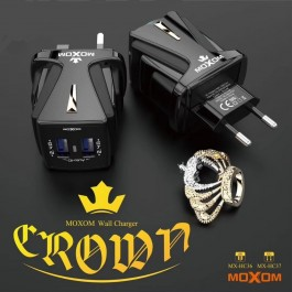 MOXOM MX-HC36 CROWN CHARGER WITH DATA CABLE WITH DUAL SLOT USB FAST CHARGER