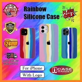 iPhone 7/8/SE,7/8 Plus, X/XS, XR, XS Max, 11, 11 Pro,11 Pro Max, 12, 12 Pro, 12 Pro Max Rainbow Liquid Full Cover TPU Silicone Case With Logo