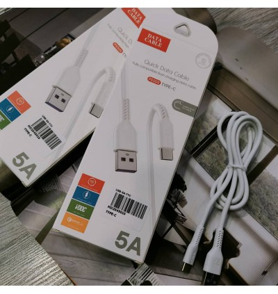 [ORIGINAL] 5A Fast Charging Litghtning/Type C/Micro Data Sync USB Cable Support Huawei Super Charge Oppo VOOC QC 3.0 1 Meter