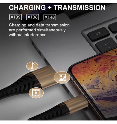 [BUY 1 FREE 1] Original WUW X138 Micro 2.4A Quick Charge & Data Sync USB Cable For All Android Smartphone 1 Meter
