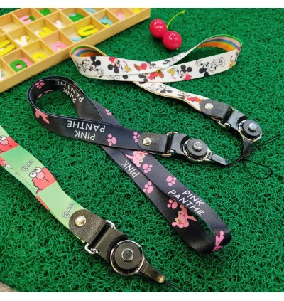 Long Section Mobile Phone Strap Cute Cartoon Lanyard Neck Strap Keys ID Card Badge Holder DIY Hang Rope (Tali Phone)