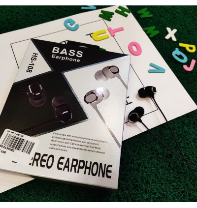 Sport Earphones HS108 Wired In-Ear Jack Handfree Stereo Music Extra Bass HiFi Music MP3 With Mic Volume Control
