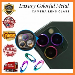[LIMITED STOCK]iPhone 11, 11 Pro/Pro Max, 12 , 12 Pro,1 2 Pro Max Luxury Colorful Metal Camera Lens Glass Protector Ring