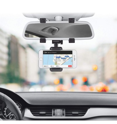 In-Car Rear View Mirror Bracket Mount Universal Phone Holder 360 Degree Rotated | Strong Grip | Durable For Smartphone