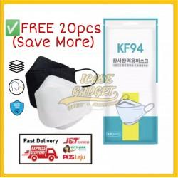 Harga Borong 4 Fly Korean KF94 Face Mask Large Headloop Protection Comfortable Breathable Filter Virus FREE Extra 20