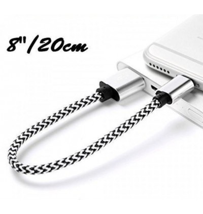 20cm Nylon Short Micro USB Charging Cable for Power Bank