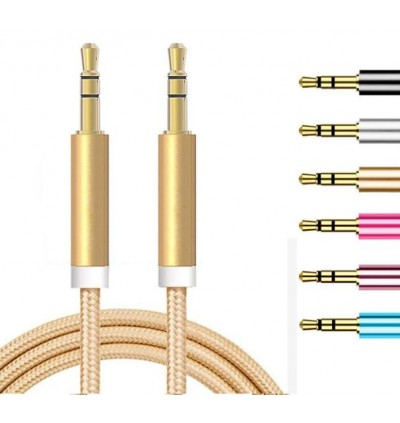 3.5mm AUX Audio Stereo Male To Male Colorful Nylon MP3 Stereo Cable 1 Meter