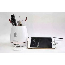 Fast Dual Port USB Mini Charger with Pen Jar & Flower Vase