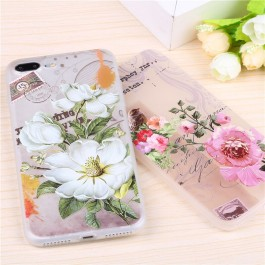 iPhone 5/5S/SE, 6/6S Silicone Matte Case 3D Relief Flower