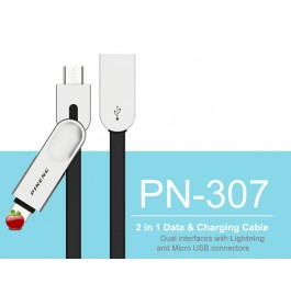PINENG PN307 High Speed & Data Fast Charging High Quality (2 In1) Micro Android + iOS Lightning Cable
