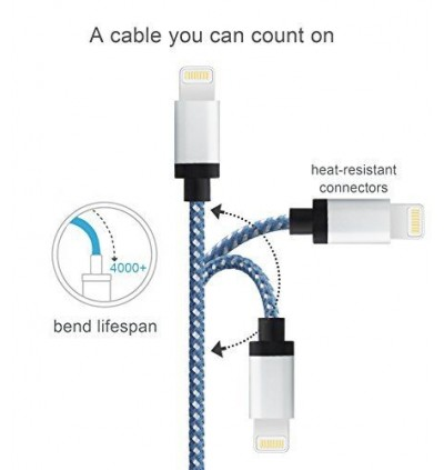 20cm Nylon Short iOS Lightning USB Charging Cable for Power Bank