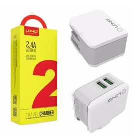 LDNIO A2203 Adapter Dual USB Ports Auto ID Travel Charger With UK 3-Pin Plug