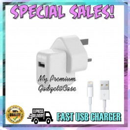 Apple iPad Air, iPad Mini Charger 12W USB Power Adapter Set With iOS Lightning USB Cable UK 3-Pin Plug