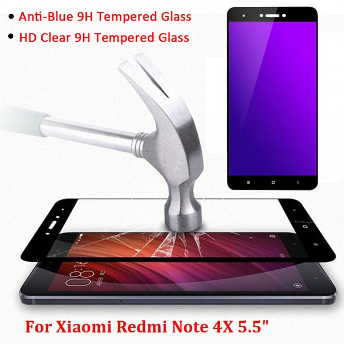 Redmi Note 4, 4X, 5A Anti Blue Ray Full Cover Tempered Glass