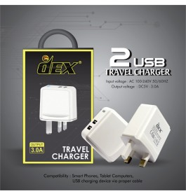 DEX Travel Adapter Dual USB Port Charging 3.0A Output With UK 3 Pin Plug