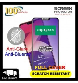 Oppo A1K, A3S, A5S 5D Full Cover Matte Anti Blue Ray Tempered Glass