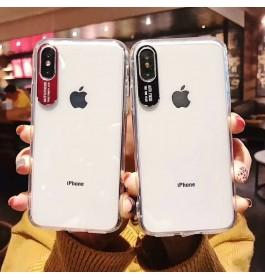 iPhone 6/6S, 6 Plus/6S Plus, 7/8, 7 Plus/8 Plus New Design Metal Lens Letter Hard Silicone Transparent TPU Case