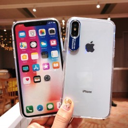 iPhone X/XS, XR, XS Max New Design Metal Lens Letter Hard Silicone Transparent TPU Case