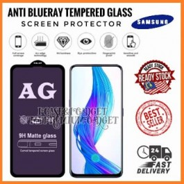 [FULL COVER] Samsung Galaxy A7 2018, A9 2018 5D/9D AG Matte Anti Blue Ray Full Glue Gaming Tempered Glass