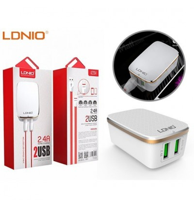 LDNIO A2204 2.4A 2 USB Output Auto ID Fast Charging USB Adaptive Travel Charger FREE USB Cable