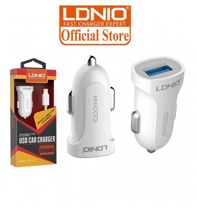 LDNIO C17 Fast Charging Smart In Car Charger 1.0A FREE USB Cable