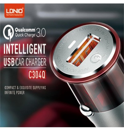 LDNIO C304Q Qualcomm Fast Charge QC 3.0 USB Car Charger Technology Intelligent