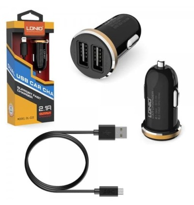 LDNIO DL-C22 Fast Charging Smart 2 USB Port In Car Charger 2.1A FREE USB Cable